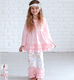 Pink Floral Ruffle Tunic & Pants Outfits Princess Pink Baby Winter Set Vintage Ruffle Flower Clothing Set