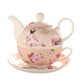 pink china teapot, ceramic tea cup sets with beautiful pattern design