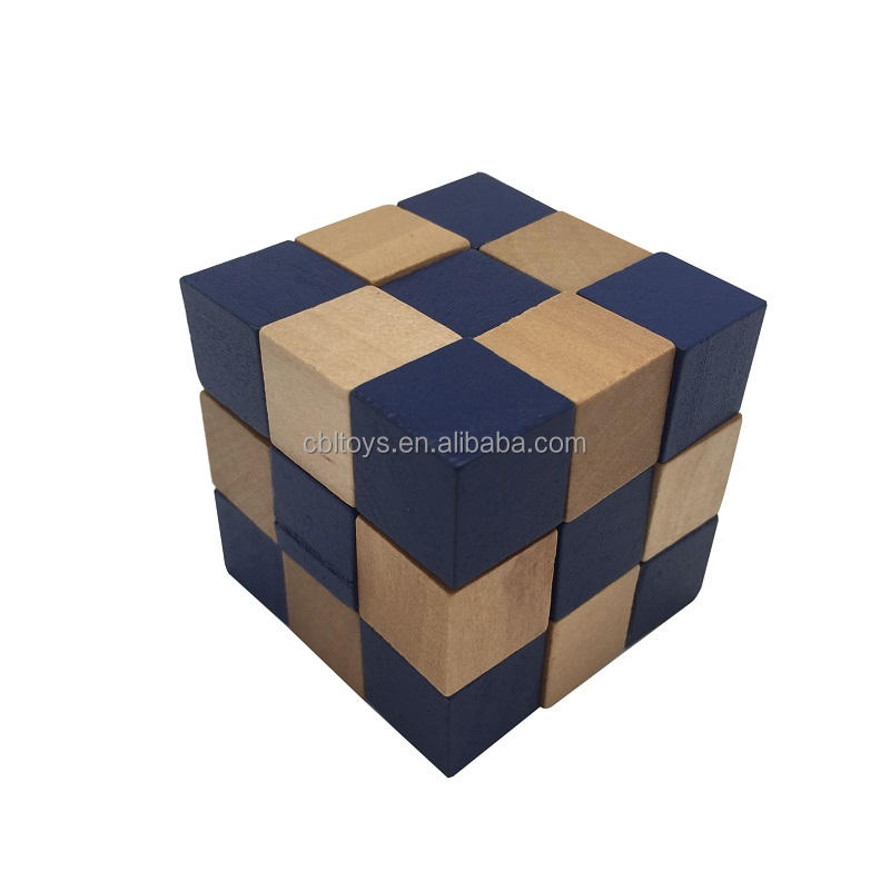 4.5cm mini wooden 3D magic cube puzzle educational IQ test brain teaser toys