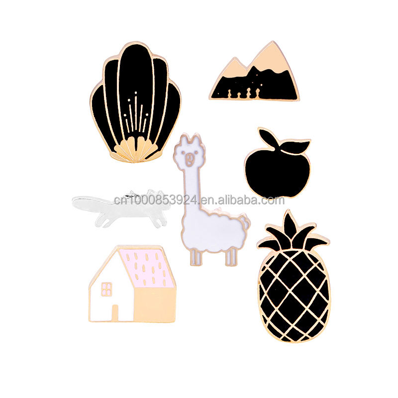 Cartoon Brooch Pin Enamel Cute Animal Apple Pineapple Black Mountain Shirt Lapel Pin