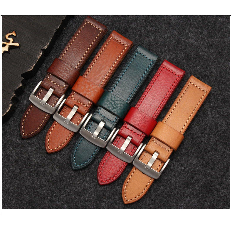 Vegetable Tanned Leather Handmade Vintage Calf Genuine Leather Strap Wrist Band with Secure Metal Clasp Buckle