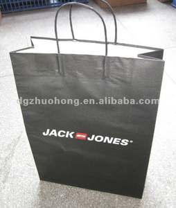 full black with white logo shopping carrier bag with twisted handle