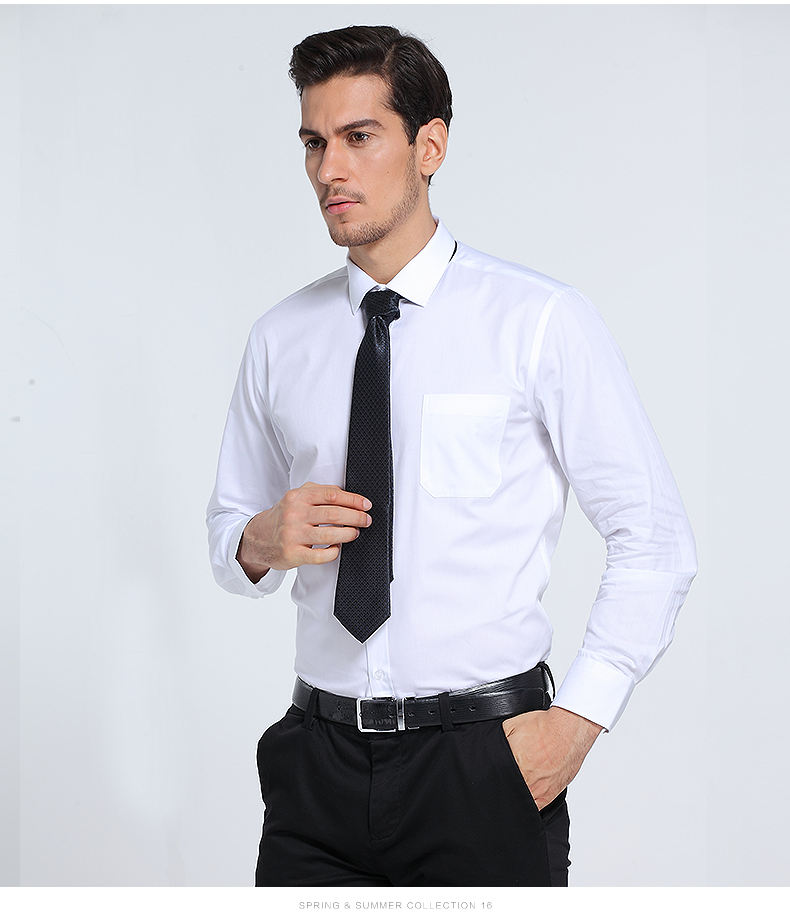 2020 Plus Size 100% Cotton stand-up collar latest style men's dress shirt
