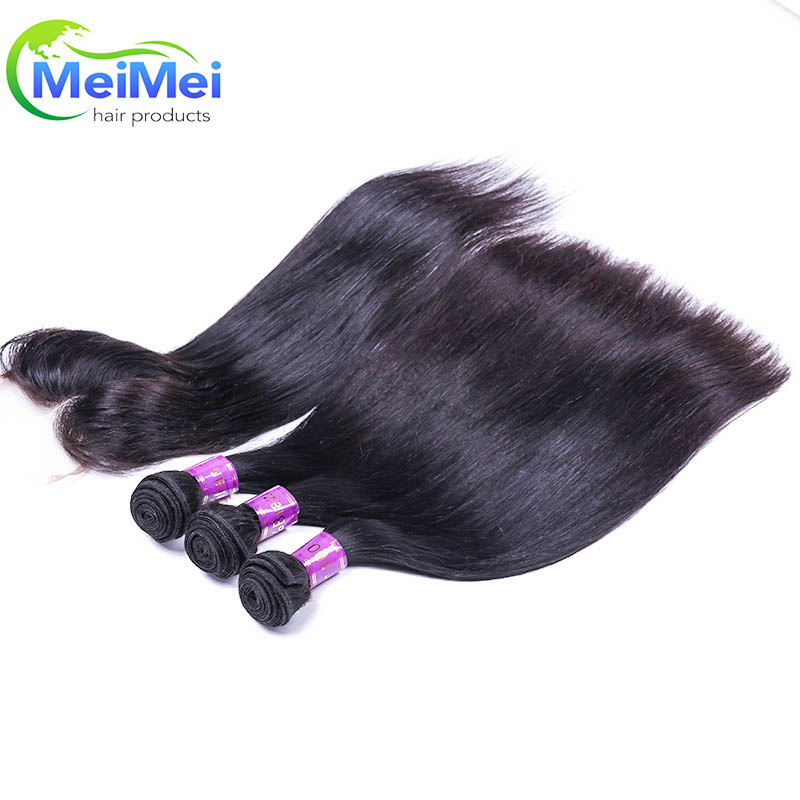 free shipping human hair grade 7 a virgin hair straight Brazilian hair