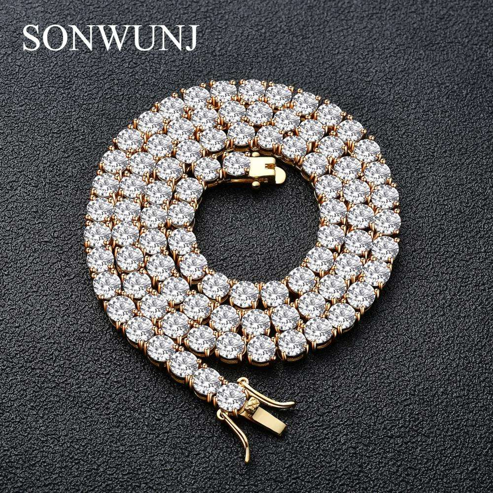 3mm 4mm 5mm Copper Zircon Tennis Chain 1 Row Necklace Hip hop Bling Jewelry Gold Silver CZ Tennis Chain Necklace Iced Out CN033