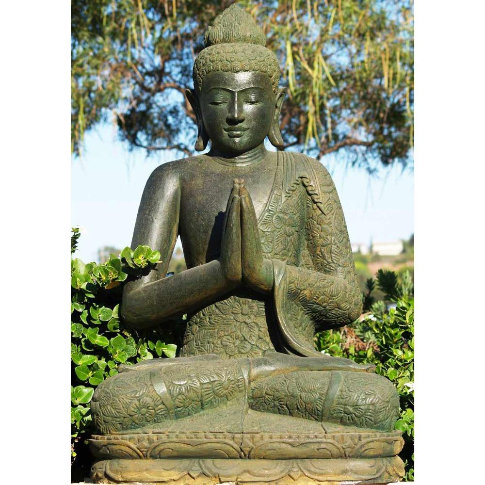 Handcraft Alfresco Home Praying Buddha Green Stone Statue