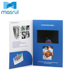 "Professional custom 7"" video brochure landscape softcover video greeting card book with pocket"
