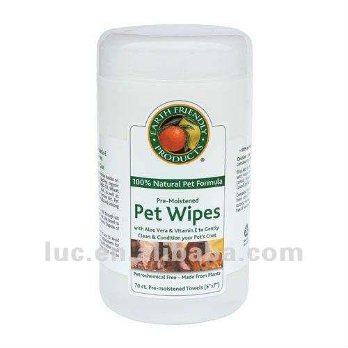 100% natural para Fórmula pre-humedecido pet toallitas/toallas en barril