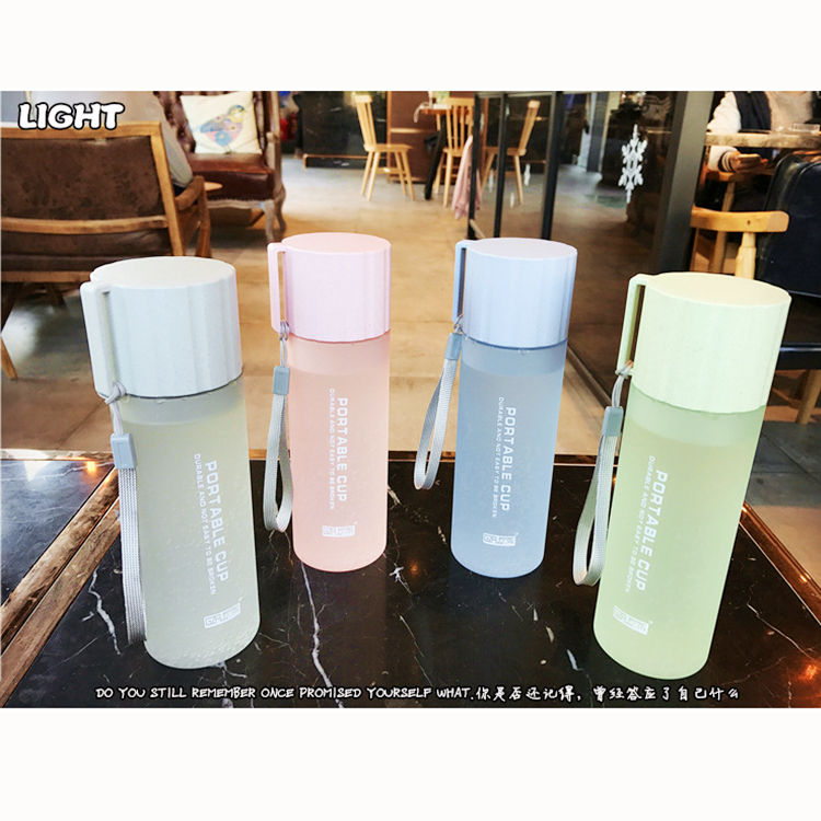 18oz 550ml Frosted portable Korean style cute plastic sports drinking water bottle with lid with rope for girl and female