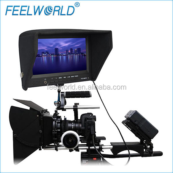 FEELWORLD High Brightness 7 inch monitor to camera shoulder rig with hdmi inputs hot shoe mount