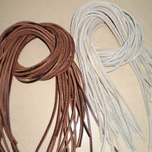 Durable Natural Real leather flat rope strips for necklace