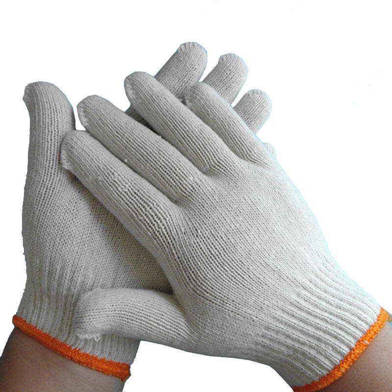 Direct china factory 400g Bleached White Cotton Knitted Gloves for industrial