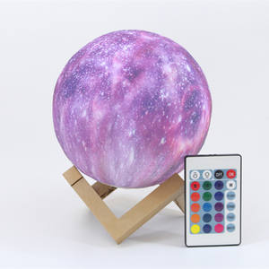 3D Moon Lamp Starry Sky Night Light 16 Colours Touch Switch Remote Control Star Moon Lamp