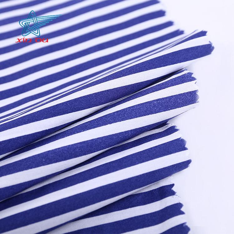 Toptan dokuma için baskılı şerit poplin % 100% pamuklu kumaş gömlek