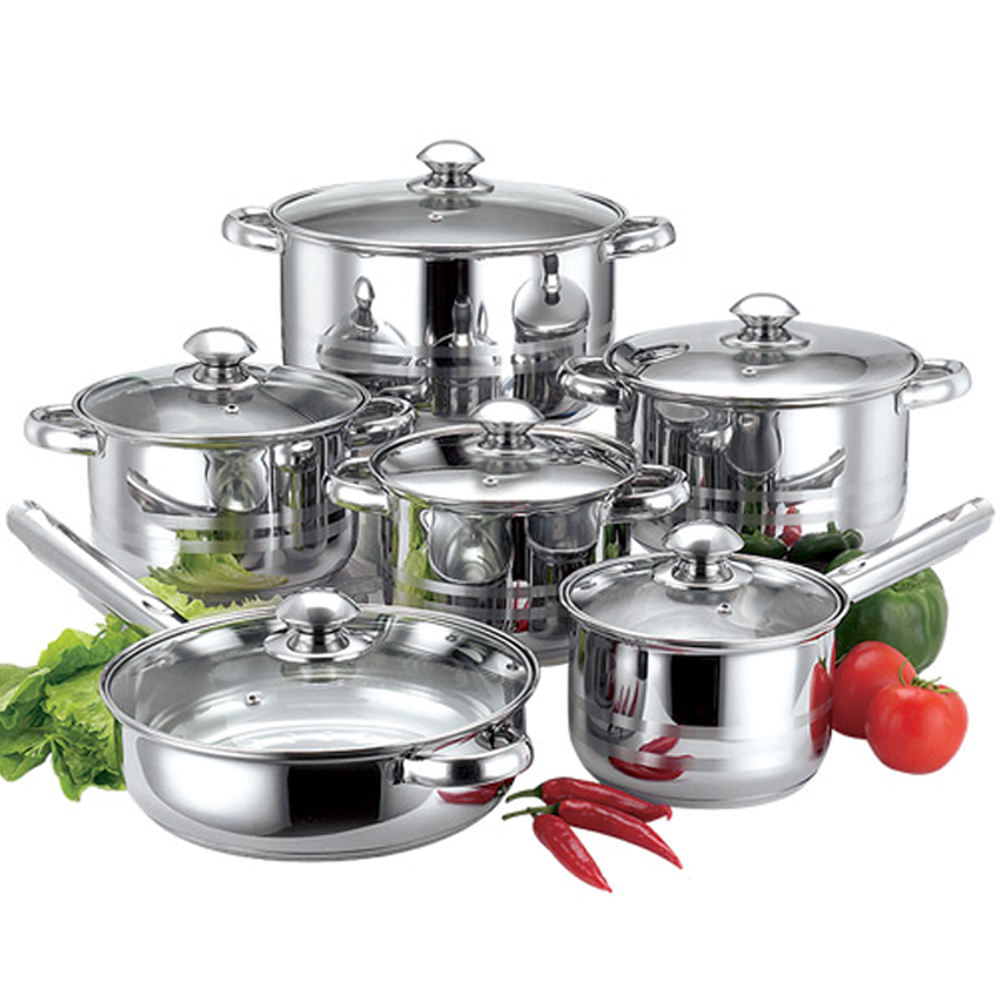 HanFa 12pcs induction cookware stainless steel non stick pot pan set
