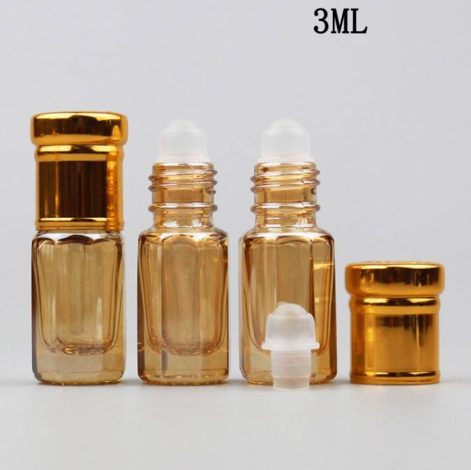 High grade crystal octagon roll on perfume bottle glass 3ml