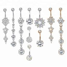 Flower Clear CZ Dangle Belly Button Ring Free Sample Belly Bar Piercing