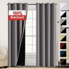 100% Blackout Curtains for Bedroom, Thermal Insulated Lined Curtains 84 Inches Double Layer Curtain, Energy Saving Curtain