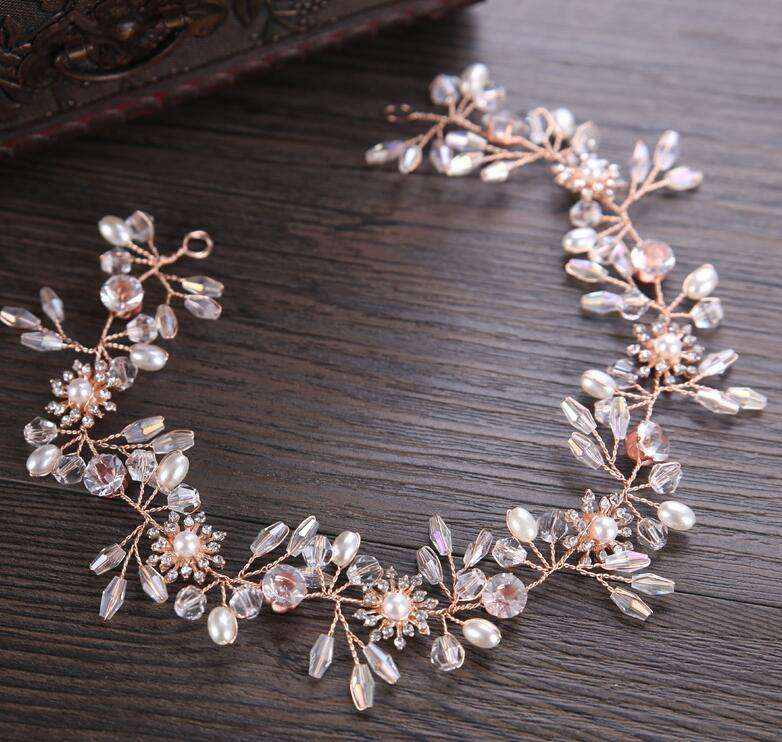 Gorgeous Rose Gold Wired Rhinestones Crystals Pearls Flower Wedding Headband Bridesmaid Bridal Hair Vine Hair Accessories