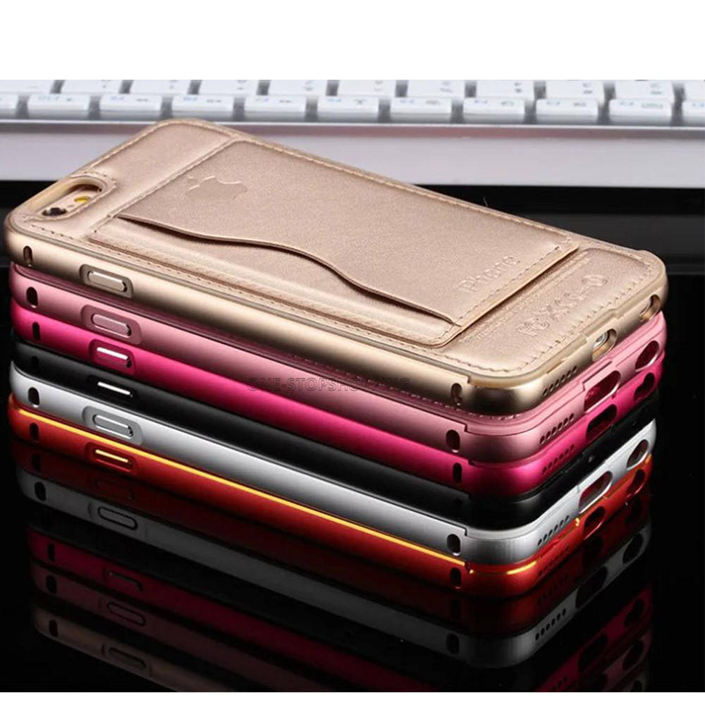 Luxury stand pu leather back cover aluminum metal phone cover case for Apple iPhone 11 pro max 6 6S 7 Plus 8 with card holder