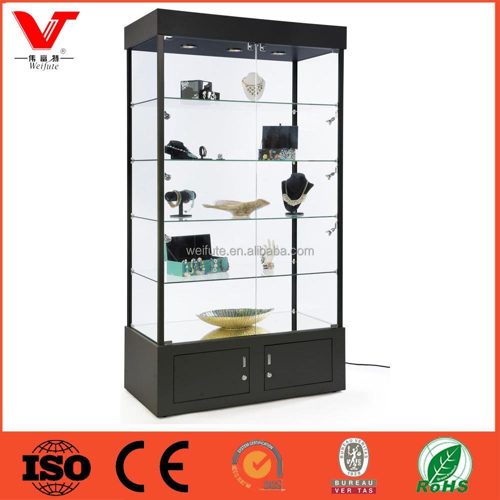 Lockable antique wooden glass display cabinet, antique jewelry display cabinet furniture