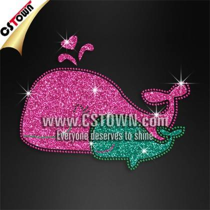 Whale family glitter rhinestone iron on transfer hotfix design