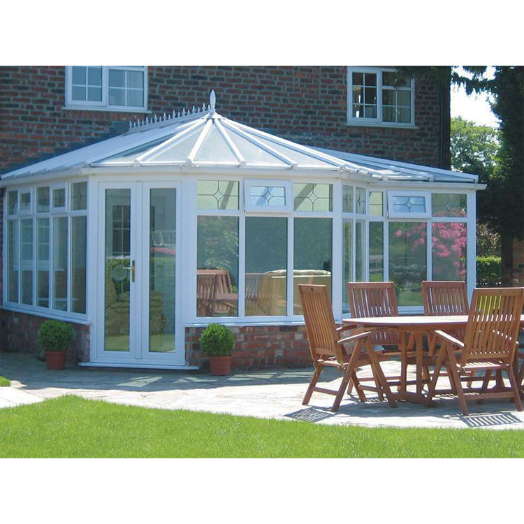 P-shape Style Aluminum Winter Garden Room All Season Glass Attached Garden Room Portable Sunroom
