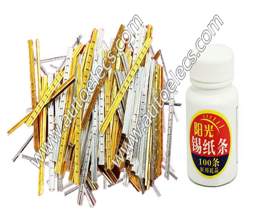 Gold Color Tin foil Strips 100Pcs 0.05mm Middle Flexibility magic locksmith tools pick