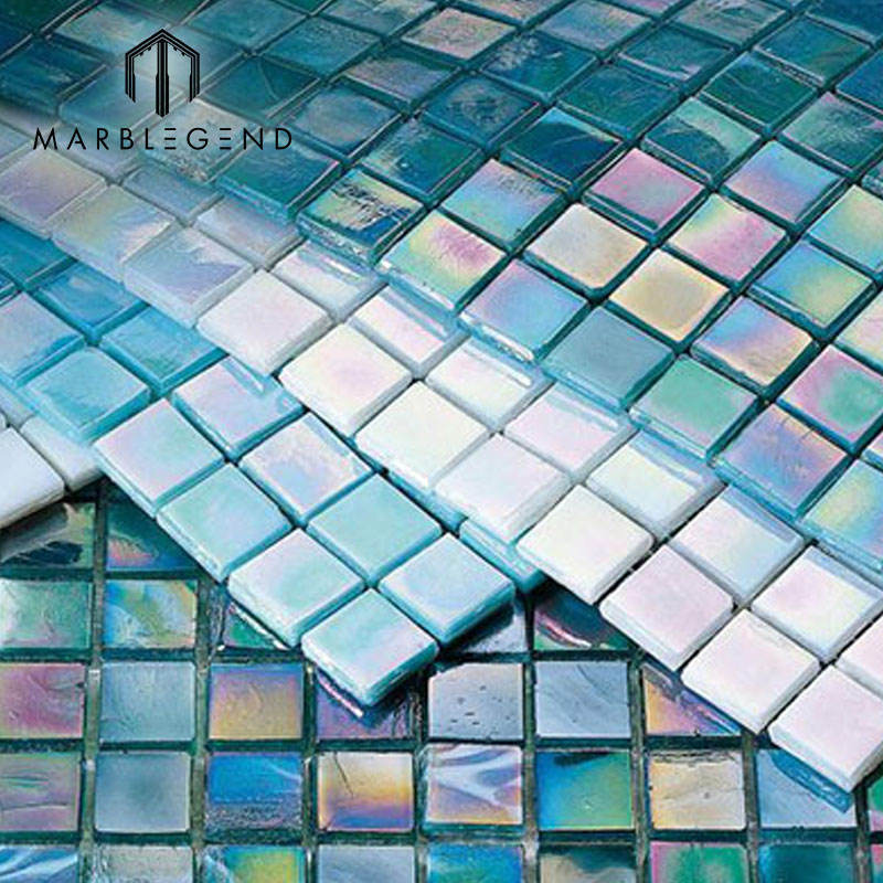 China Wholesale Wall Floor Blue Art Glass Mosaic Tiles For Swimming Pool