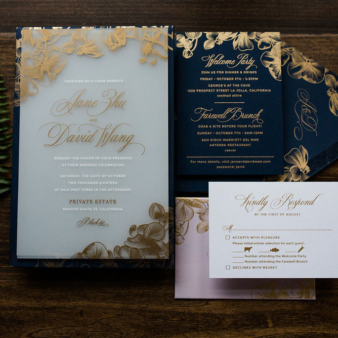 Personalized Wedding Card Suite Custom Acrylic Floral Wedding Invitation Card with Gold Foil