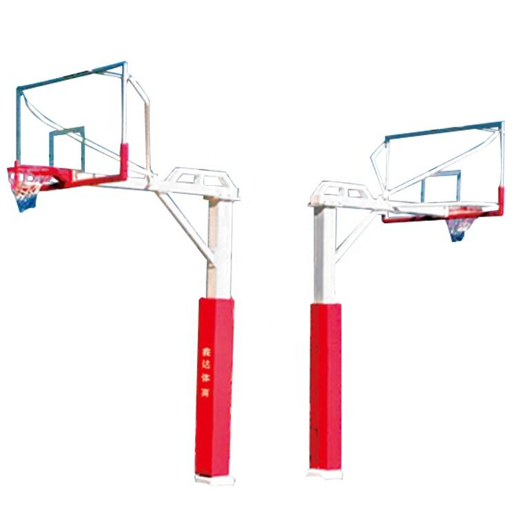 180*180mm Square Tube Fixed Single Arm Basketball Goal Posts Steel Basketball Hoop Stand for Adults