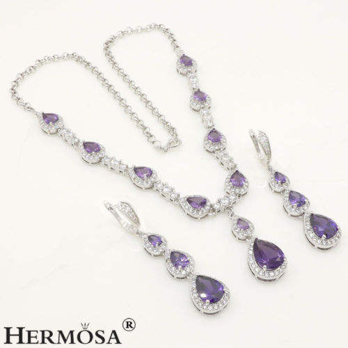 Free Shipping AAA Amethyst Zircon Jewelry Set 925 Sterling Silver Necklace Earrings Sets