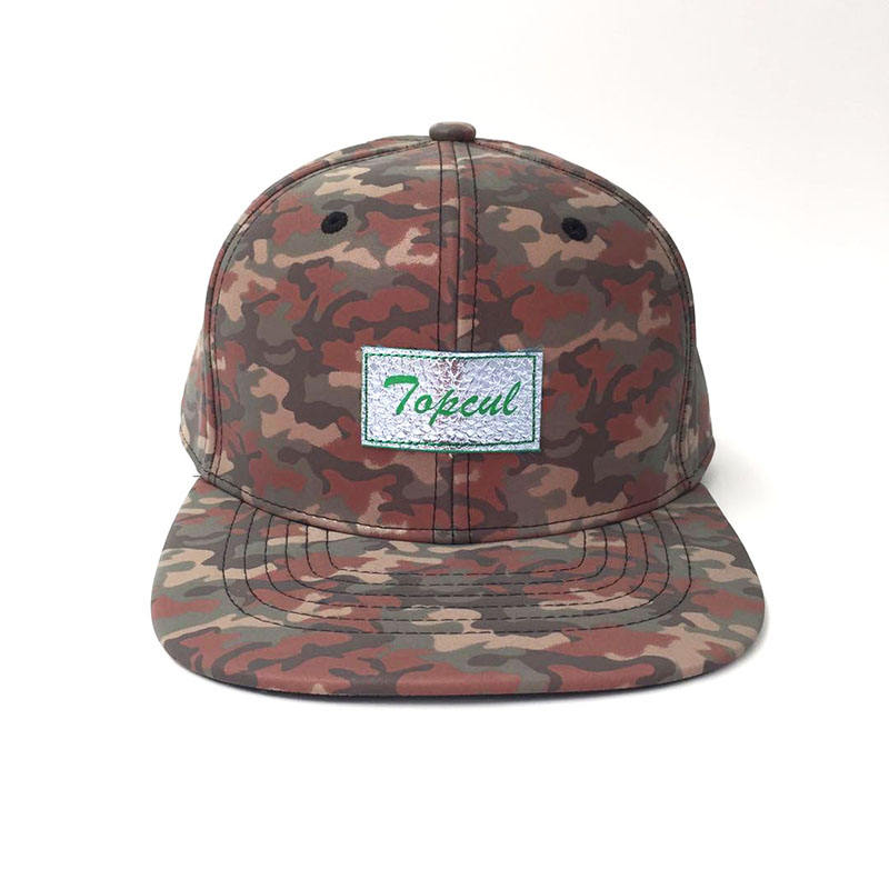 Waterproof Women Printed Military Caps With Leather Patch