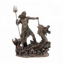 Greek god of the sea statue bronze Poseidon with trident riding a hippocampus sculpture life size on sale BRL-237