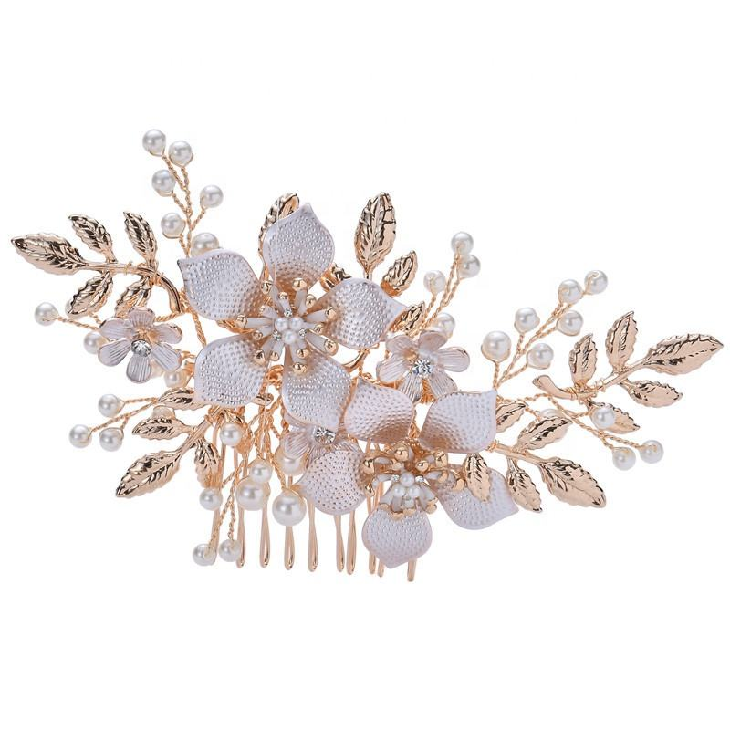 Wholesale Fancy Crystal Hair Accessories Wedding Bridal Gold Headpiece Hair Comb