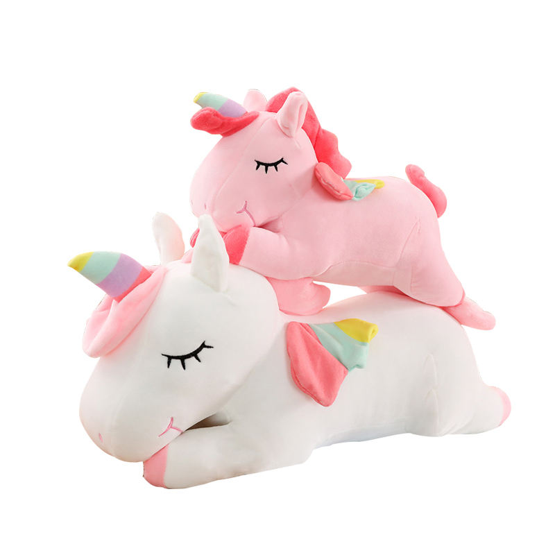 Hot sales cute giant stuffed animal unicorn plush toy custom logo pink rainbow unicorn large soft plush toy unicorn with wings