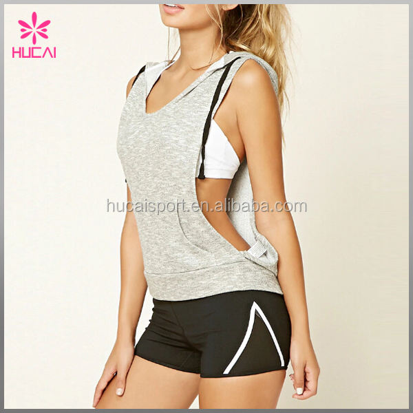 Women Wholesale tan top with hat Sports Sleeveless Hoodies Casual sportswear