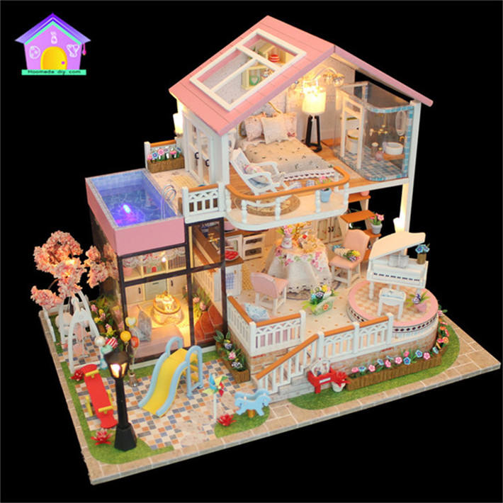 Assembled wood dream doll house kit valentine's Day present , diy wooden house wholesale