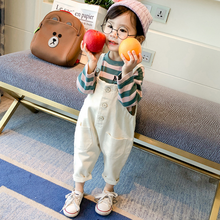 YY20037G 2019 Spring autumn new design striped long sleeve hoodies clothes white ovrealls pants sets