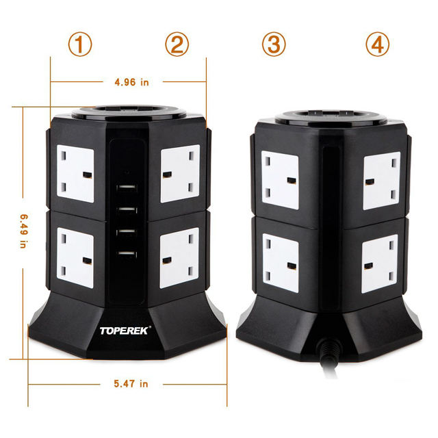 8 Way tower power socket UK standard socket with 4.5A USB output