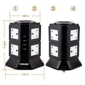 8 Cara tower power socket UK standar socket dengan 4.5A USB output