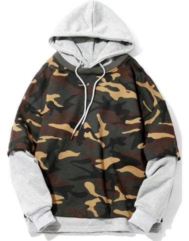 Skateboard Army Camouflage T shirt outside Sweatshirt fake two piece men hoodie