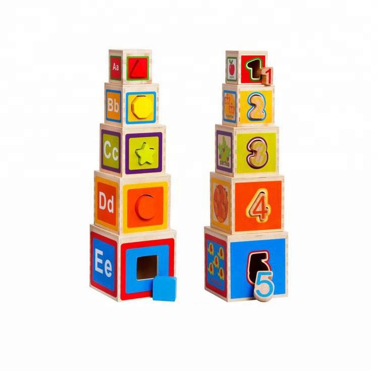 Kids Wooden Stacking Toys, Wooden Blocks Stacking toys,math wooden intellect blocks toys