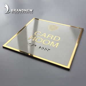 CNC stainless steel metal signage all size hotel door room number ADA braille sign plate