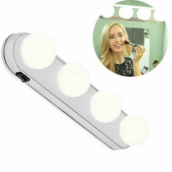 As Seen On TV LED Make Up Light 4 Bulb Vanity Mirror Lights Suction Cup Installation light supplement lamp