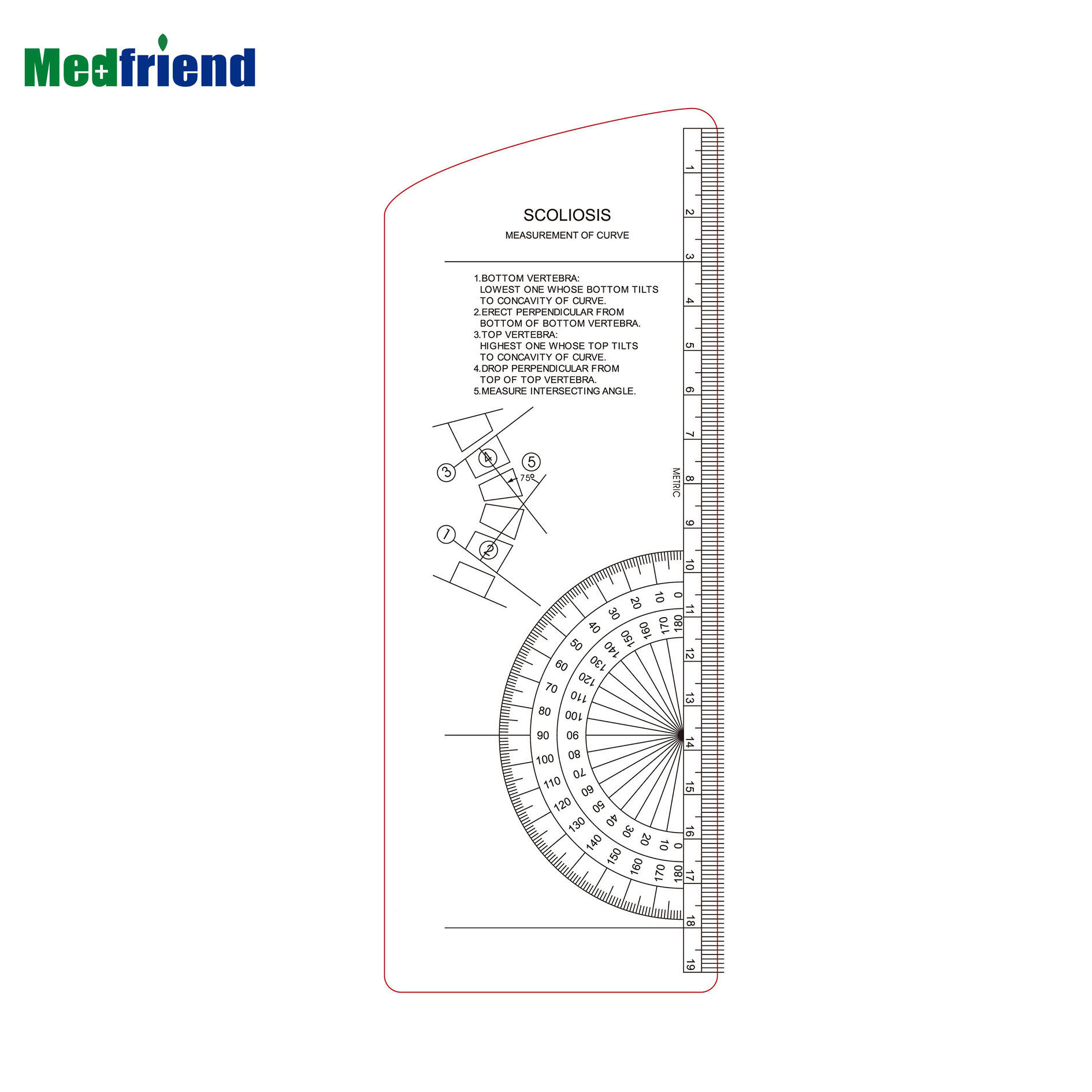 Plastic Scoliosis Protractor Goniometer Angle Medical Ruler Orthopedics Tool Instruments for Docror and Medical Students