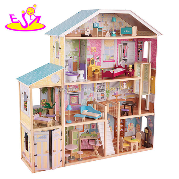 New design luxurious and attractive 32 furniture pieces girls wooden doll house toys W06A217