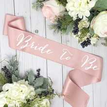 Satin bachelorette sash bride to be sash rose gold belt bridal shower gift for bride birthday party decoration