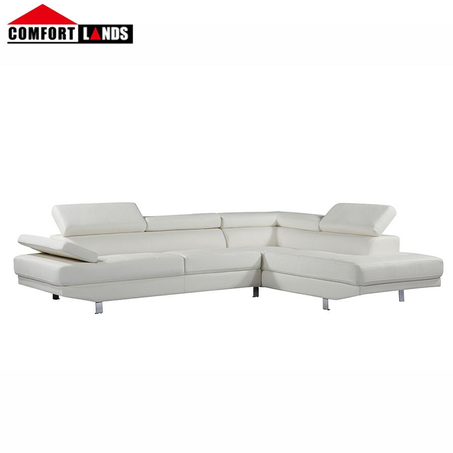 Modern living room leather sofas design furniture white bonded leather / PVC sectional sofa