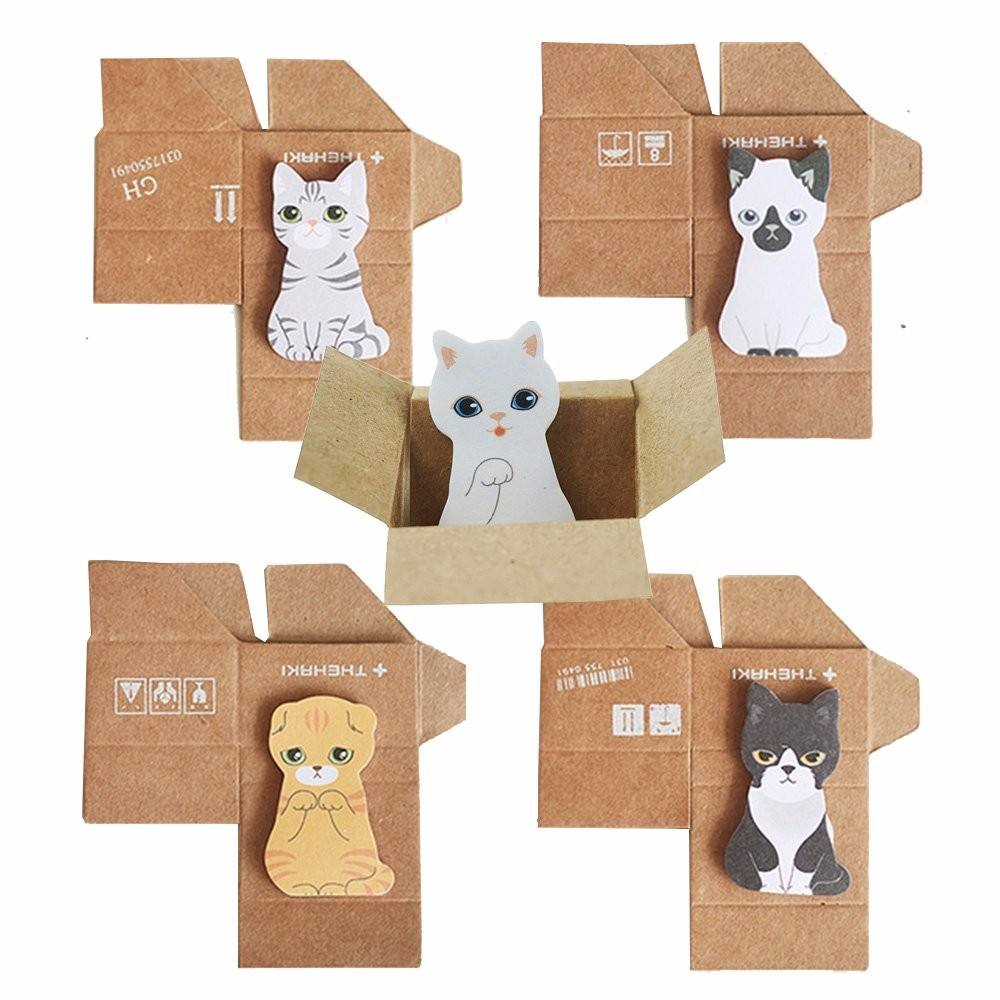 Mini Cute Cartoon Kawaii Cats Memo pad Box Sticky It Post Note for Kids Gifts Note Office Supplies Student